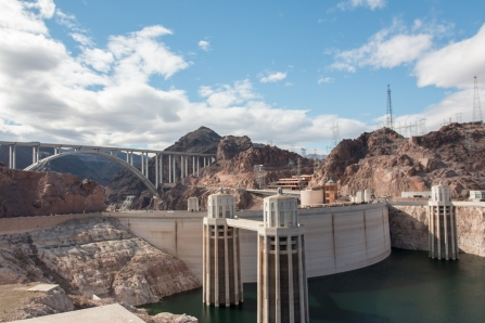 Intake towers that control the amount of water that flows through the dam.